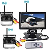 "Rv Backup Camera Wireless Vehicle 2 x Parking System Ir Night Vision Vehicle Backup Cameras Kit Waterproof + 7"" Monitor for RV Truck Trailer Bus"
