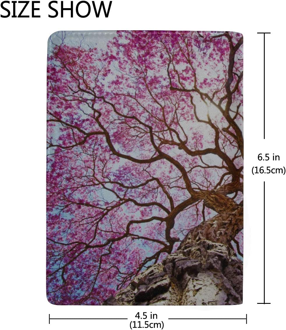 Beautiful Pink Rapacho Trees Blocking Print Passport Holder Cover Case Travel Luggage Passport Wallet Card Holder Made With Leather For Men Women Kids Family