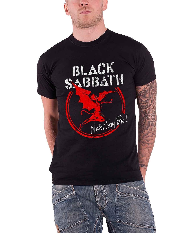 Black Sabbath T Shirt Never Say Die Band Logo Nouveau Officiel Homme Distressed