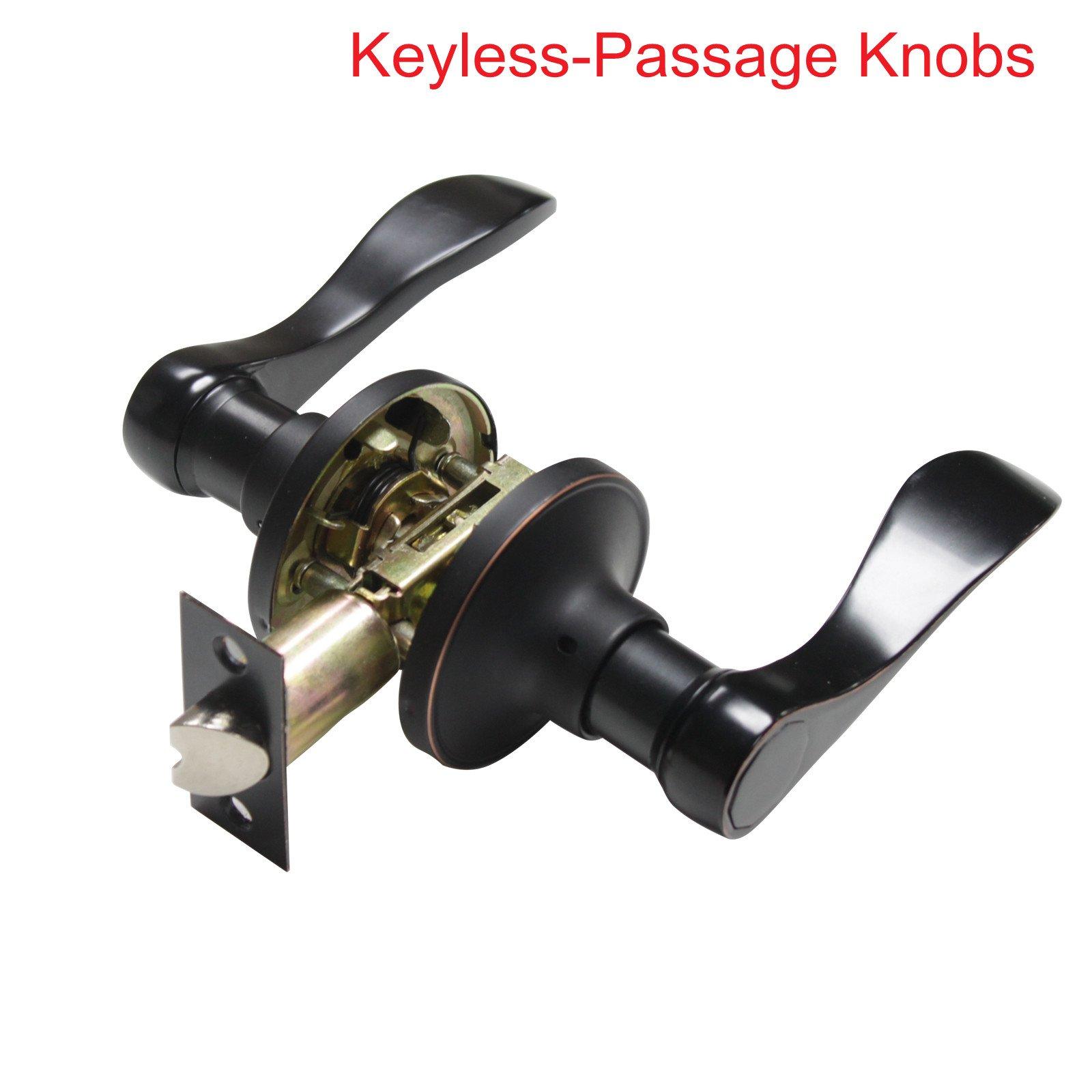 1 Pack Passage Door Lock Lever Keyless Door Lockset Handleset ;Right/Left Handed Reversible;Oil Rubbed Bronze Door Levers Hardware withour Key for Hall/Closet -Door Lever 12061
