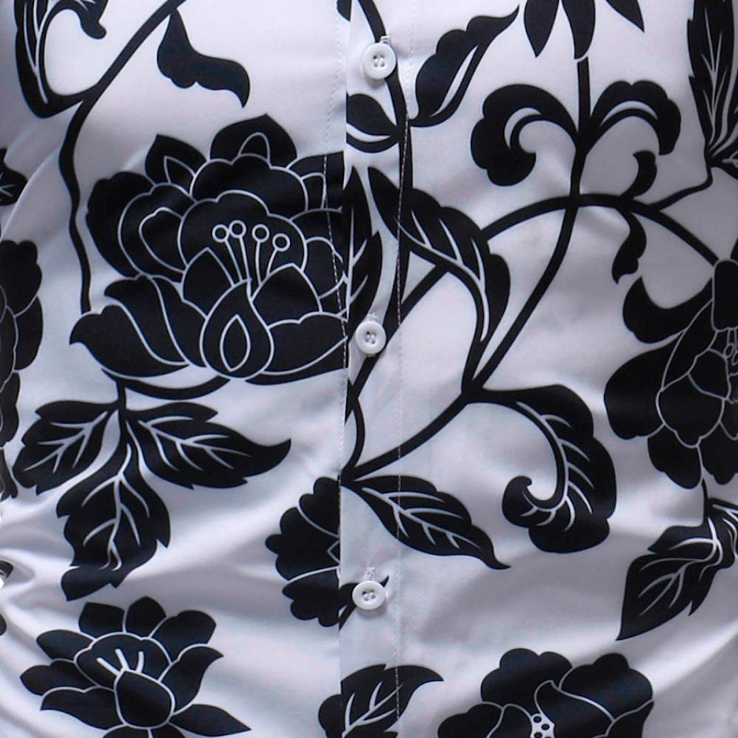 iLXHD Man Fashion Printed Blouse Casual Long Sleeve Slim Shirts Tops (2XL, Multicolor 9) by iLXHD (Image #5)