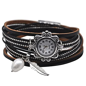 MINILUJIA Vintage Casual Women Leather Watch Small Watch Face 2 Wrap Around Watch with Feather Pearl