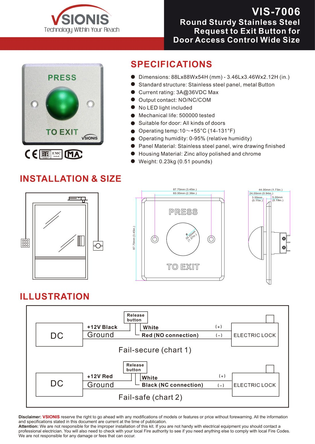 Visionis VIS-7006 Round Sturdy Stainless Steel Request to Exit Button for Door Access Control Wide Size, NC and NO Outputs