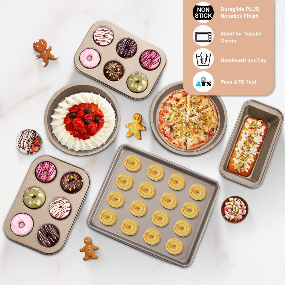 Includes Large Baking Sheet Round Baking Pan 6-Piece Toaster Oven Baking Pan Set with Nonstick Coating 6-Cup Mini Muffin Pans-Easy to Clean E-Gtong Nonstick Bakeware Set Round Cake Pan Loaf Pan