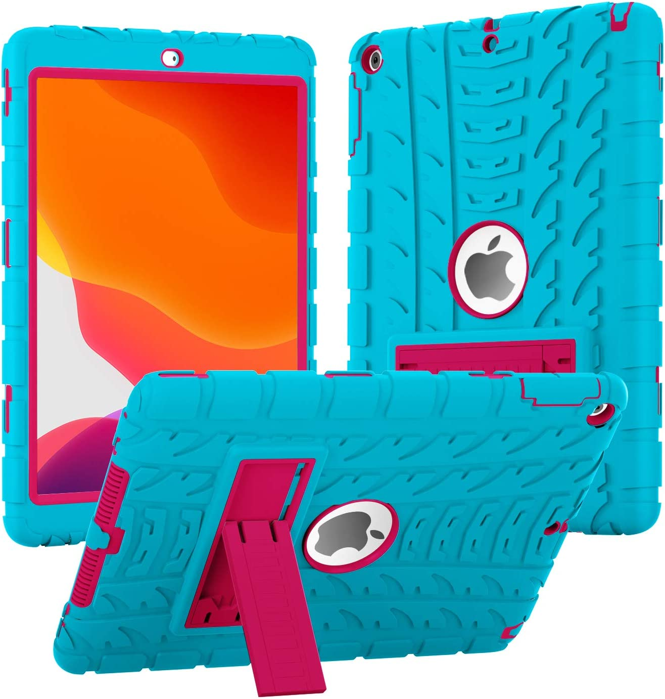 iPad 6th Generation Cases, iPad 9.7 Case 2018 (9.7'' Air 1st/5th/6th 2017/2018) Heavy Duty High-Impact Shock Absorbent Silicone + Hard PC Bumper Protective Case (Turquoise/Hot Pink)