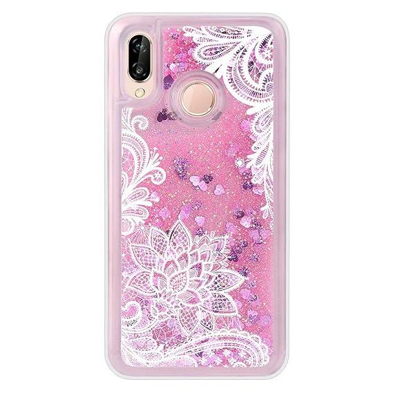 Amazon.com: Huawei P20 Lite Case. Liquid Flower Silicone ...