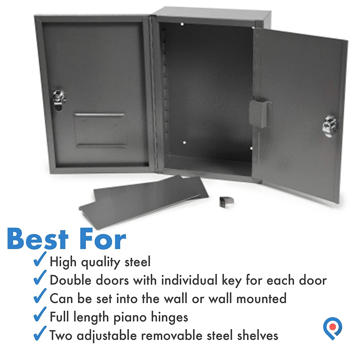 24 x 16 x 8 22 lbs Steel Welded Construction Pivit Large Medical Narcotic Security Cabinet Safe Two Adjustable Removable Steel Shelves Dual Doors Individual Key for Each Door