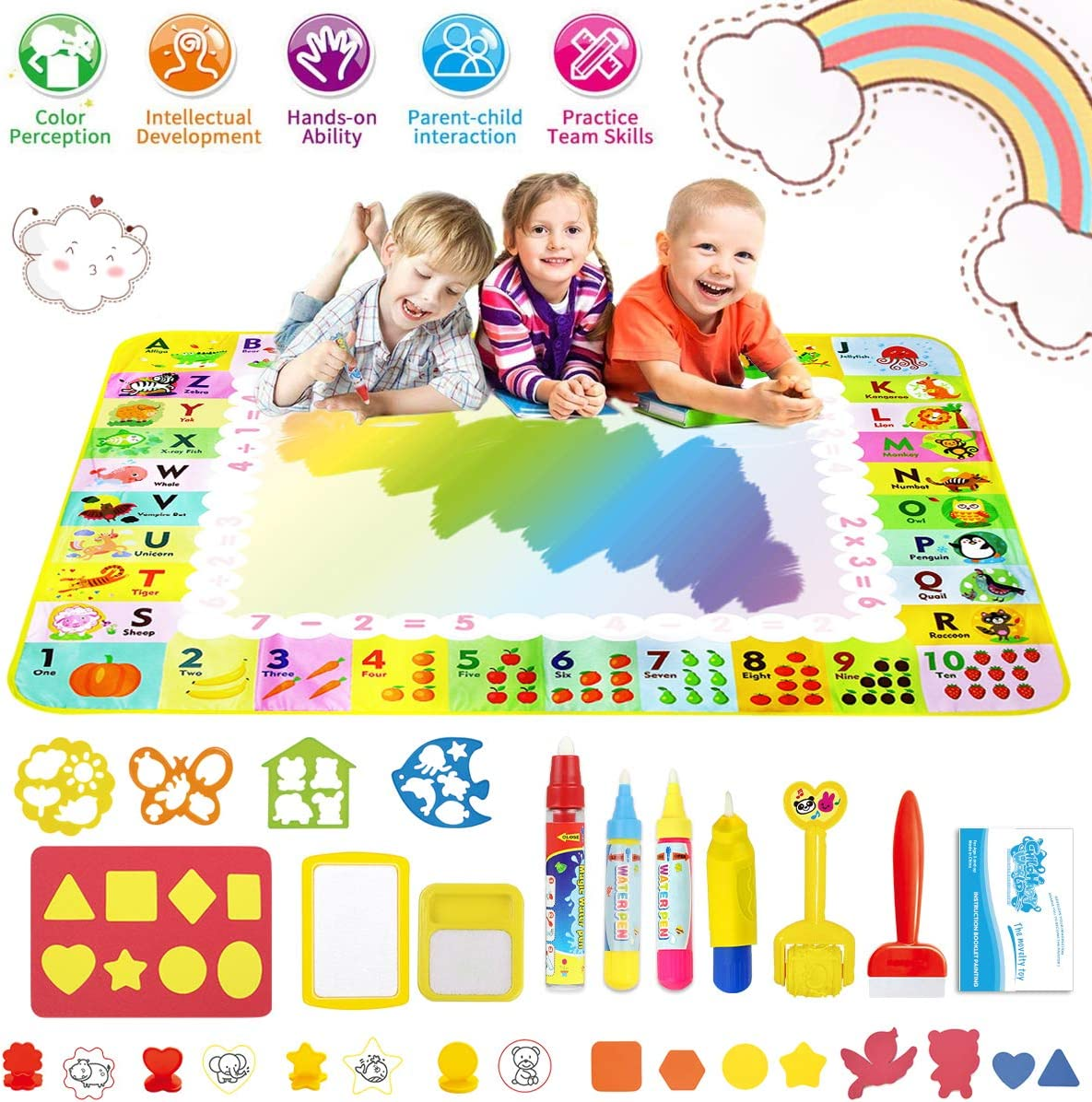 FancyWhoop Water Doodle Mat Larger Water Magic Play Mat Reusable Mess Free Aqua Drawing Painting Mat Learning Toys for 3 120 x 90cm Year Old Boys Girls Toddlers with Many Interesting Accessories