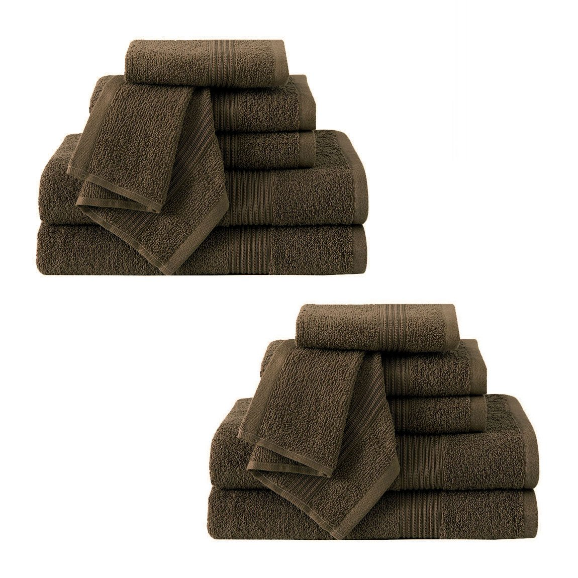 Ribbed Luxury Bath Towel 6 Piece Set 100% Cotton, Navy Blue (2 Bath Towels 54 x 27, 2 Hand Towels 28 x 16 and 2 Wash Cloths 13 x 13) HowPlumb LUXURY-TOWEL-SETS