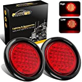 """Partsam 2pcs 4"""" Inch Round Super Bright 40 LED Diodes Stop Tail Turn Brake Sealed Lights Red Assembly Rubber Mount for Trucks Trailers RV Boat Waterproof"""