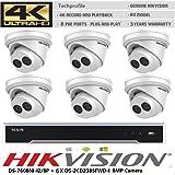 Hikvision NVR DS-7608NI-I2/8P+ 6X DS-2CD2385FWD-I 8MP 2.8mm Camera PoE 4K CCTV