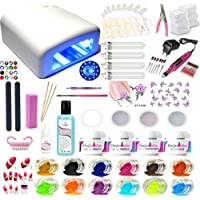 Kit manucure XXL ponceuse lampe BLANC gel uv nail art capsules faux ongles