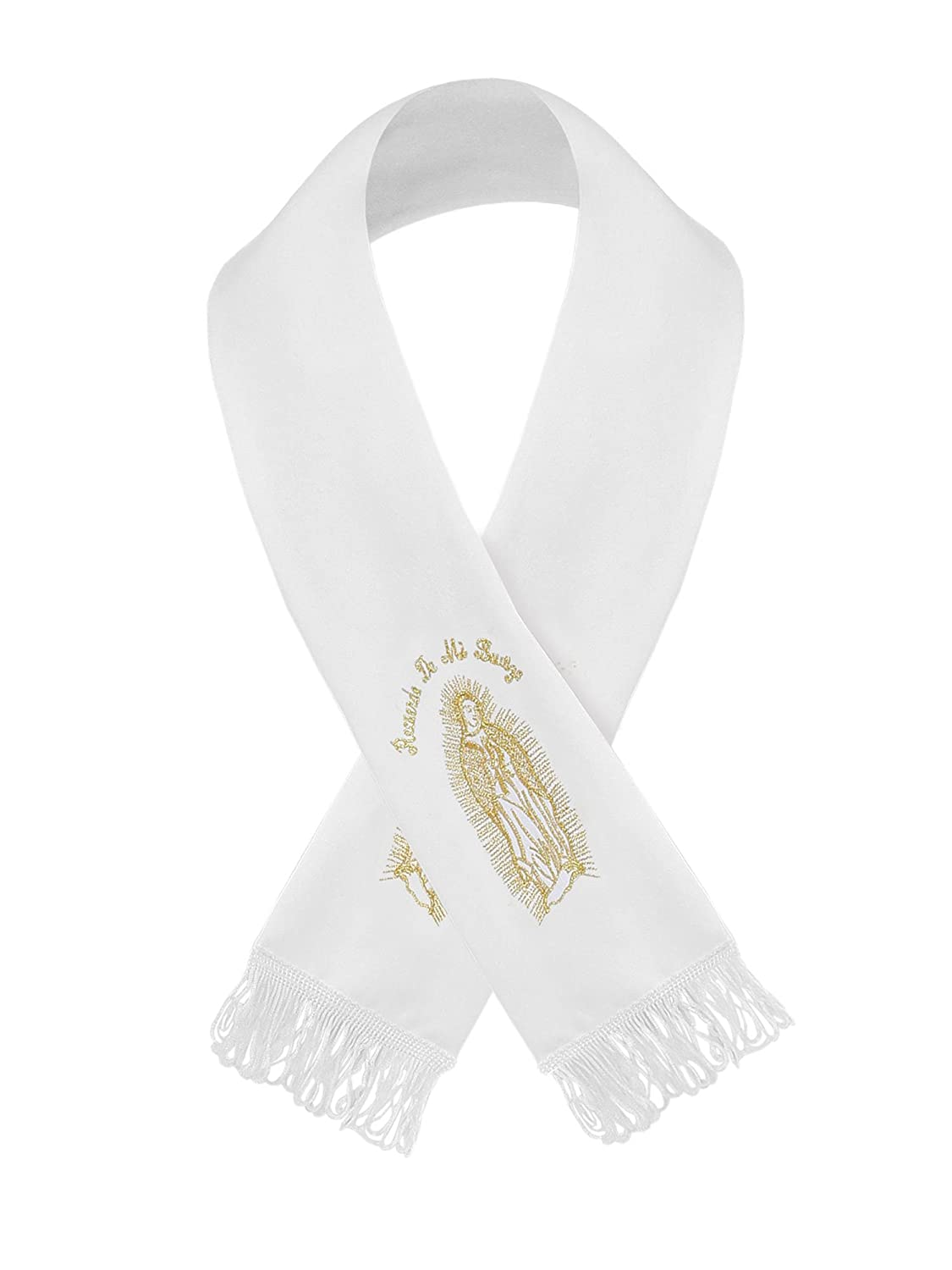 Bello Giovane Baby Boys White Christening Maria Guadalupe Embroidered Scarf BGON MARIA SCARF