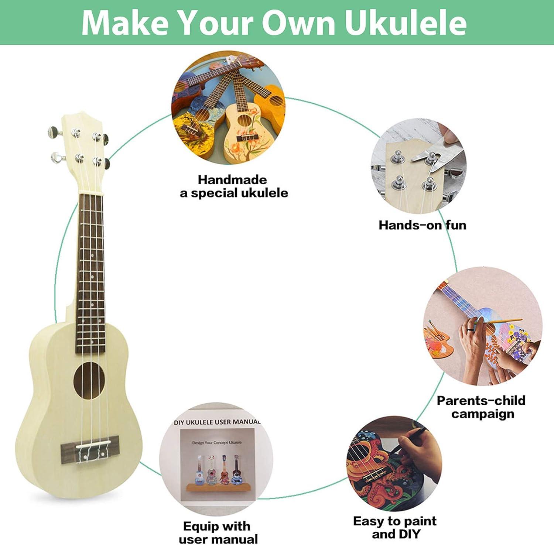Amazon Com Diy Ukulele Kit Build Your Own Soprano Ukulele Kit Handmade 21 Inch Hawaii Ukulele Diy Kit For Boys Girls Kids Teens Adults Beginners Amateur School Project Art Project Musical Instruments