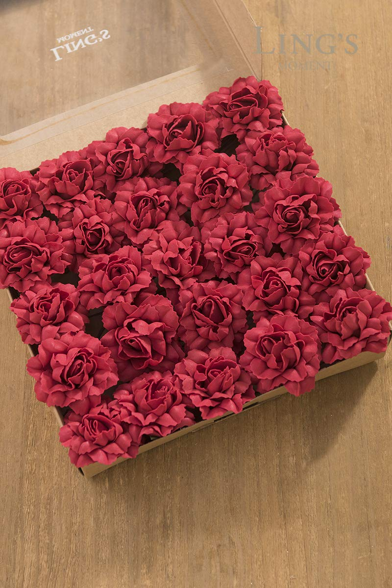 Lings-moment-Artificial-Flowers-7cm-Dia-Head-Dark-Red-Open-Rose-Carnations-25pcs-Real-Looking-Fake-Carnations-wStem-for-DIY-Mothers-Day-Wedding-Bouquet-Centerpieces-Arrangements-Flower-Decorations