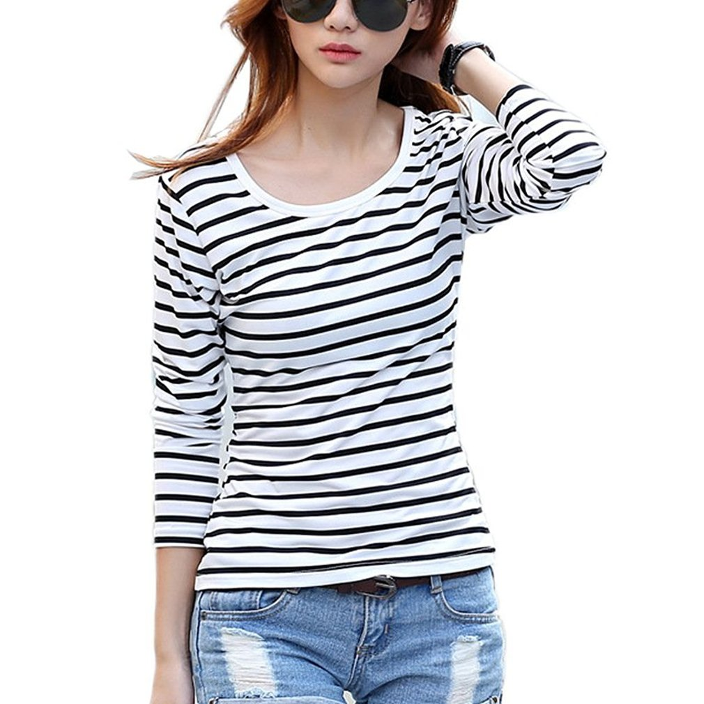 Womens Striped Black White Long Sleeve T-shirt Casual Tops Blouse Shirts
