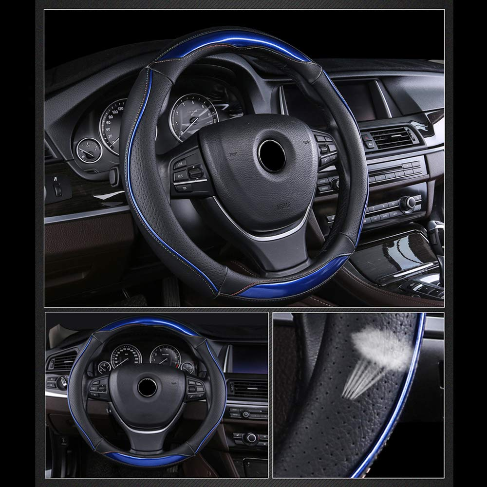 FLKAYJM Universal Fit Car Steering Wheel Cover 37-38CM//15 Anti Slip Laser Brushed Leather Breathable Protector Car Accessory Heavy Duty Year Round Use for Truck SUV Van,Black /& Blue
