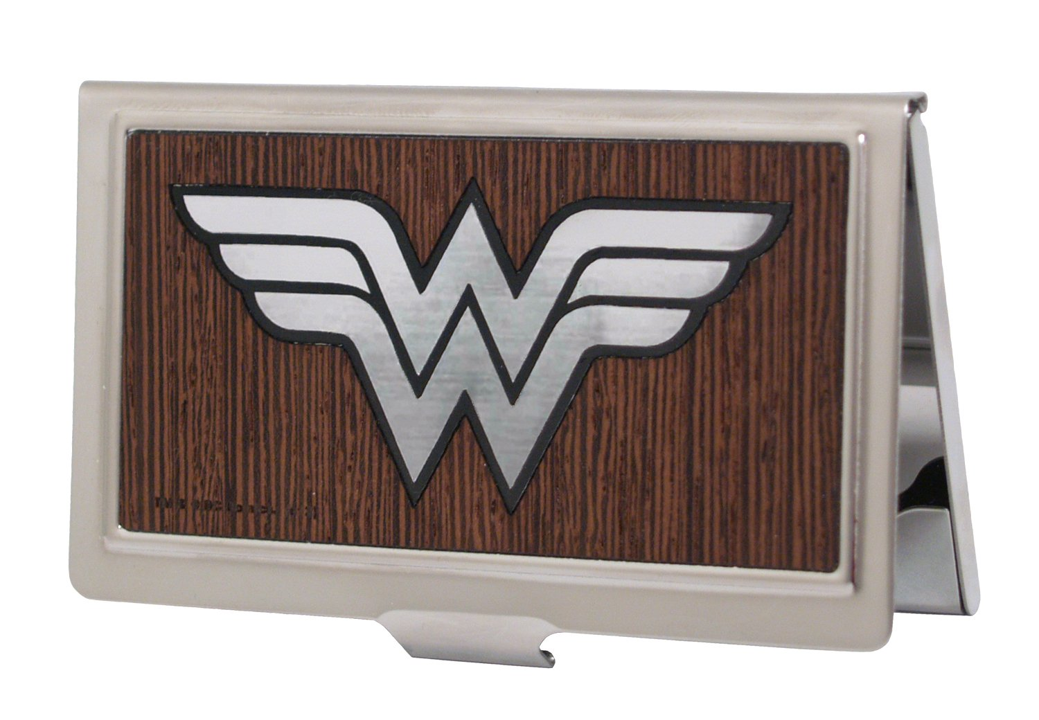 Buckle-Down Business Card Holder - Wonder Woman Logo Marquetry Black Walnut/Metal - Large