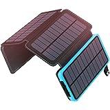 ソーラーチャージャー 20000mAh 大容量 ADDTOP ソーラー充電器 4つのソーラーパネルと2つUSBポートを備え 急速充電、地震/災害/旅行/アウトドアなどの必携品、iphone/ipad/Android各種対応