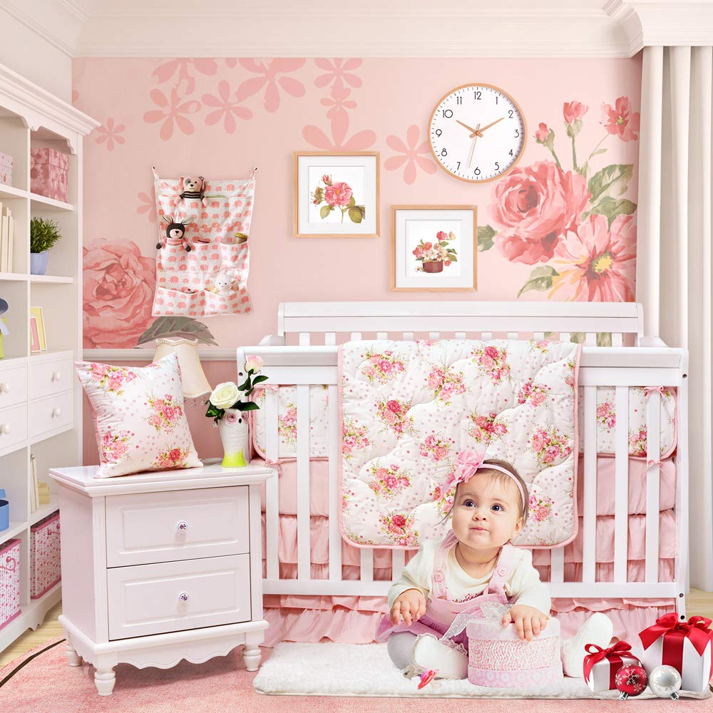 Brandream Floral Baby Bedding Set for Girls Crib Bedding Set with Bumper Pads Luxurious Princess Nursery Bedding, Blush Rose Flowers Printed, 8 Pieces
