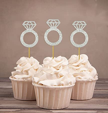 Darling Souvenir Wedding Engagement Ring Cupcake Toppers Party