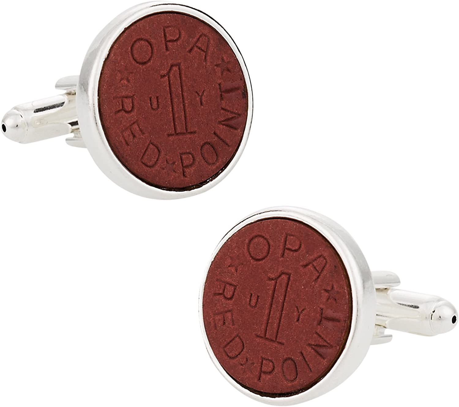 Cuff-Daddy OPA Red Point WWII Ration Cufflinks Clad in Sterling Silver with Presentation Box