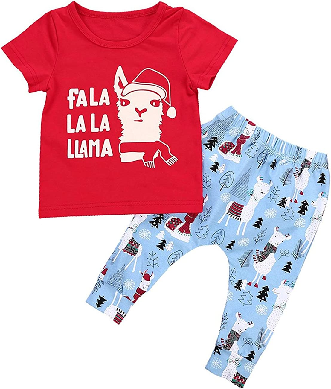 Alpaca Pant Sets BabiBeauty Baby Girls Boys Short Sleeve Llama Letter Print T-Shirt