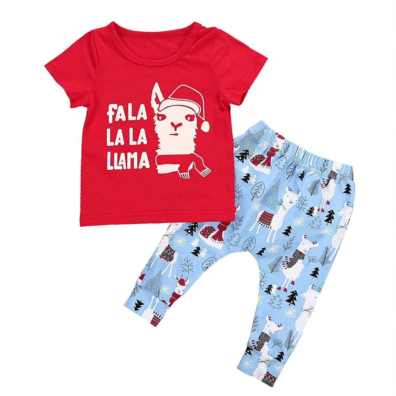 Babibeauty Christmas Baby Girls Boys Llama Clothes Set Letter Print Short Sleeve T-Shirt + Alpaca Pants Set Outfits