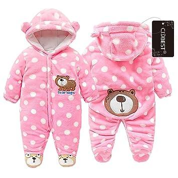 Winter Fleece Bär Baby Mädchen Jungen Strampler Coral Hoodies Overall Outfits DE