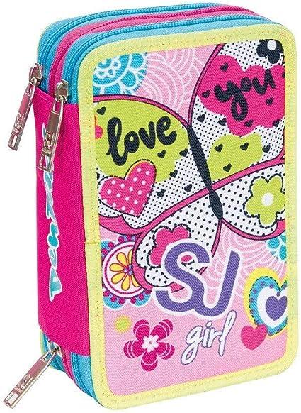 SJ Gang Seven - Estuche con 3 cremalleras, color rosa: Amazon.es: Oficina y papelería