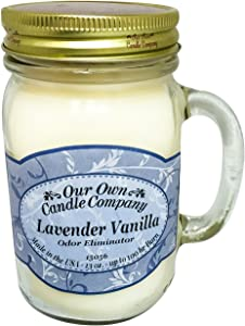 Our Own Candle Company Lavender Vanilla Odor Eliminating Scented 13 Ounce Mason Jar Candle