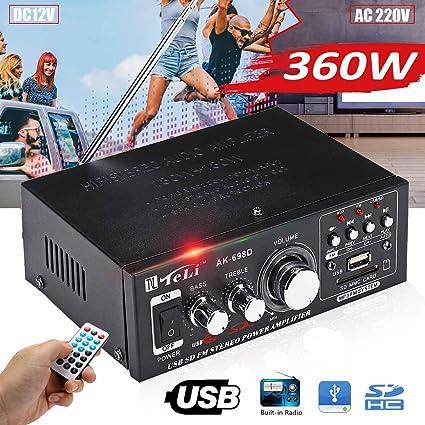 Amazon.com: SMALL-CHIPINC - 360W 12V/ 220V HIFI Mini Audio ...