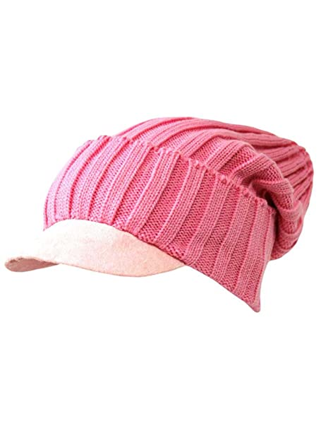 d144e289df2 Luxury Divas Pink Acrylic Knit Slouch Beanie Cap Hat With Brim at ...