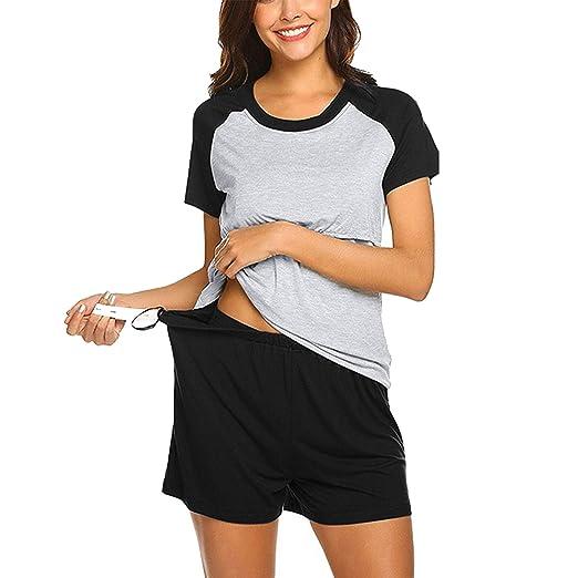57eff04d32da2 Women Maternity 2 Pcs Pajamas Set Short Sleeve Nursing Tops T-Shirt with Shorts  Pregnancy