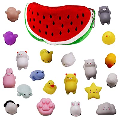 Windy City Novelties 20 Pack Mochi Squishy Animal Toys - Cute Soft Watermelon Carrying Pouch - Kawaii Squishies: Toys & Games