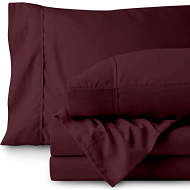 Bare Home Queen Sheet Set - 1800 Ultra-Soft Microfiber Bed Sheets - Double Brushed Breathable Bedding - Hypoallergenic – Wrinkle Resistant - Deep Pocket (Queen, Burgundy)