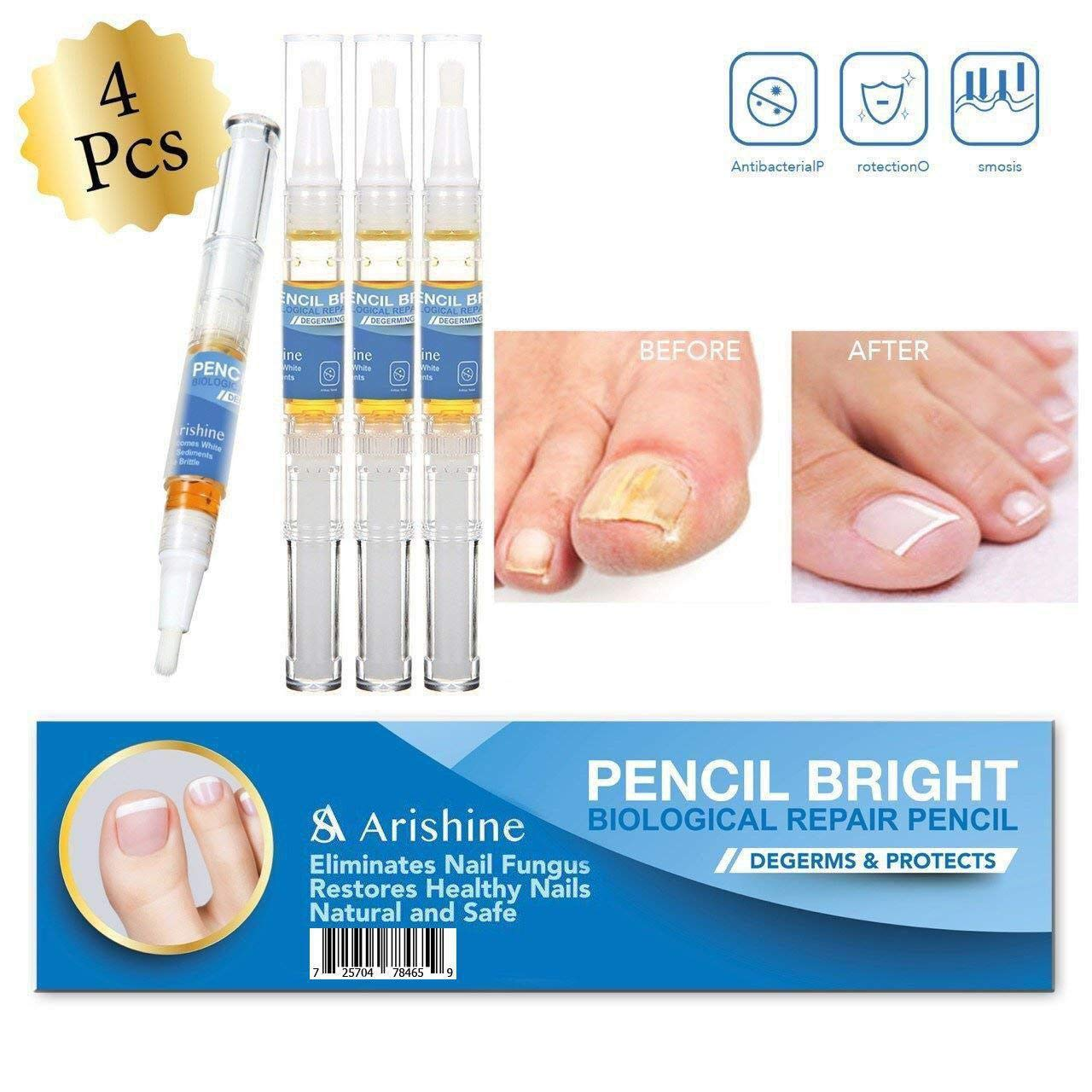 Arishine Toenail Fungus Treatment, Fungus Stop, Maximum Strength Anti-Fungal Nail Solution, Effective Against Nail Fungus, Anti-Fungal Toenails, Fingernails Solution, 4pcs by Arishine