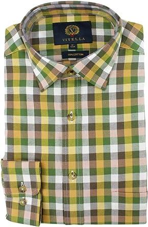 Viyella - Camisa de Manga Larga (algodón), diseño de Cuadros, Color Verde y Dorado