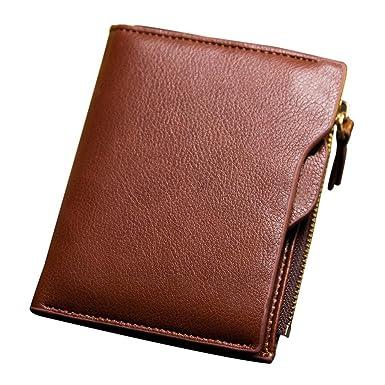 RFID Schutz Leder Herren Geldbörse, Schlanke Portemonnaie mit Reißverschluss  Münze Kartenhalter (Braun) 84d3f76828