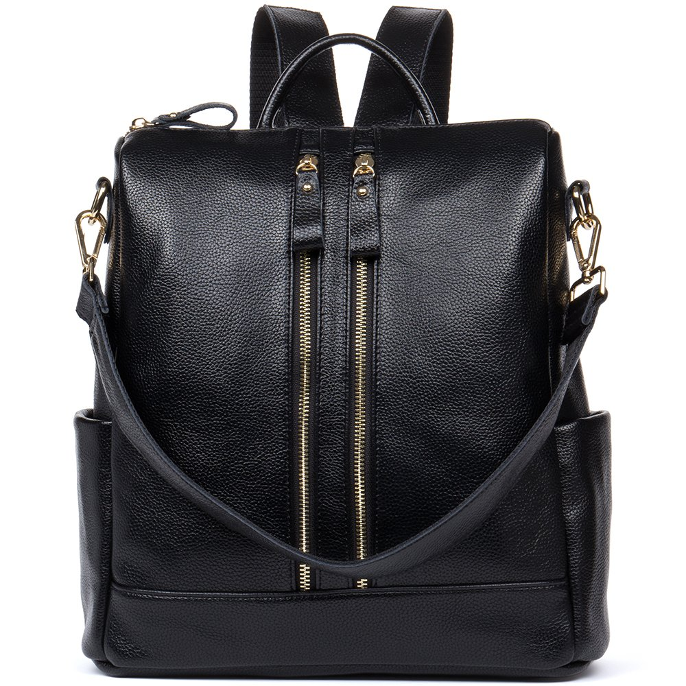 HMILY Leather Multi-Functional Backpacks Women Purse Casual Satchel Shoulder Bag Black