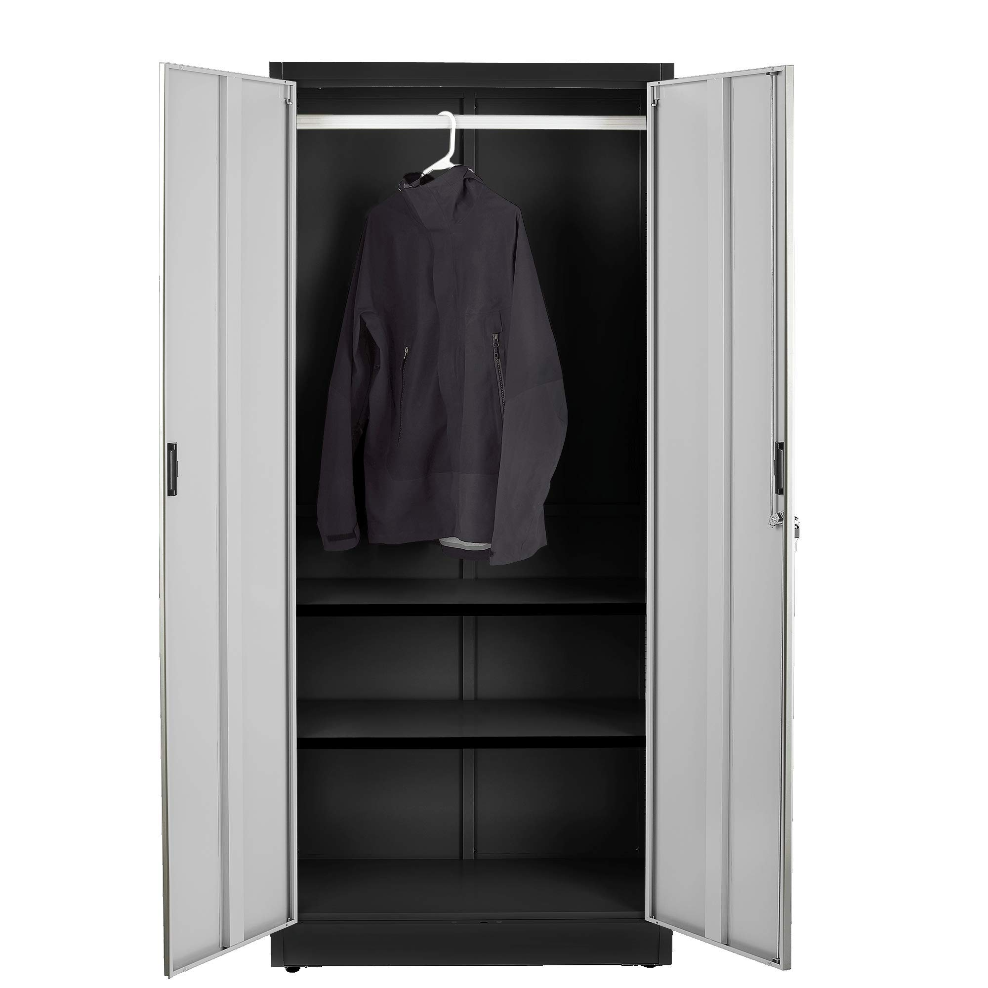 Fedmax Steel Wardrobe Closet Cabinet w/Coat Rack (3 Compartments) 70.86'' Tall x 31.5'' W x 15.75'' D (Black)