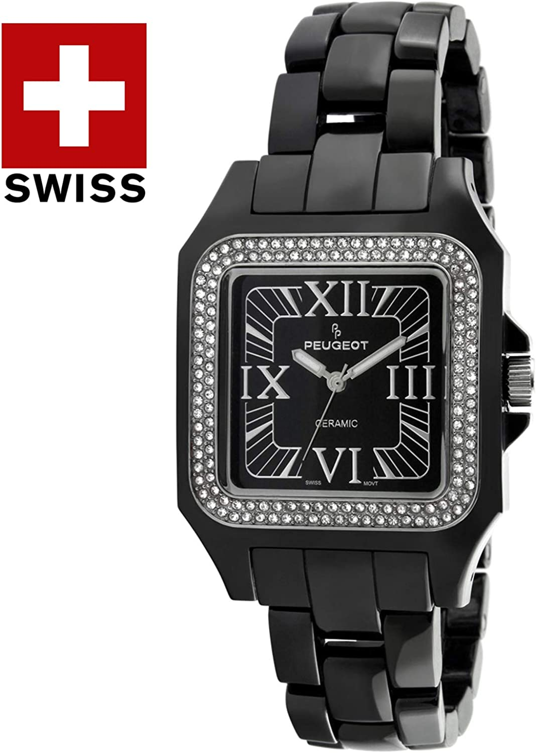 Peugeot Swiss Women Genuine Ceramic Watch - Square Case with Swarovski Crystal Bezel and Bracelet Black