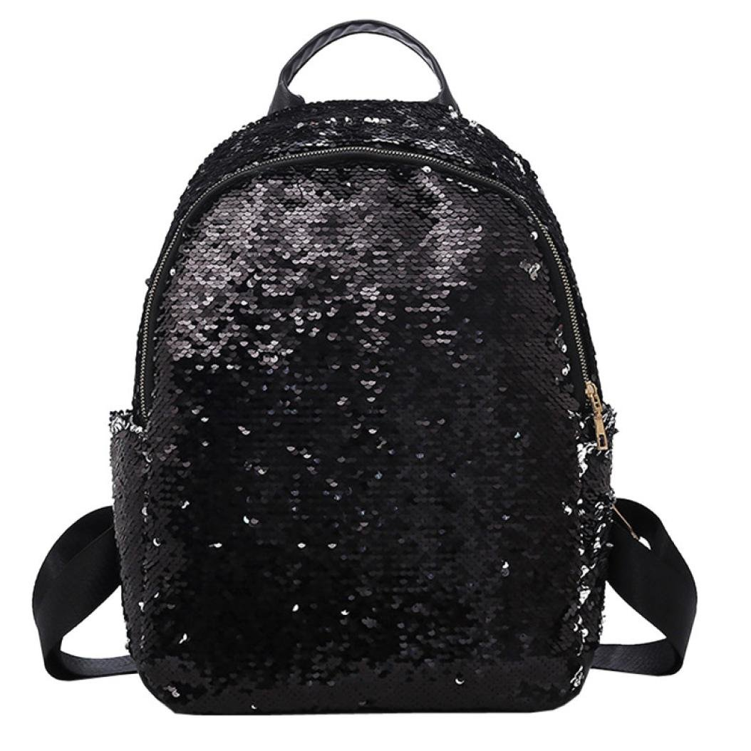 lotus.flower Reversible Dazzling Sequin Faux Leather Backpack Glittery Satchel Fashion Top Handle Shoulder Bag Lightweight Travel Backpack (Black)
