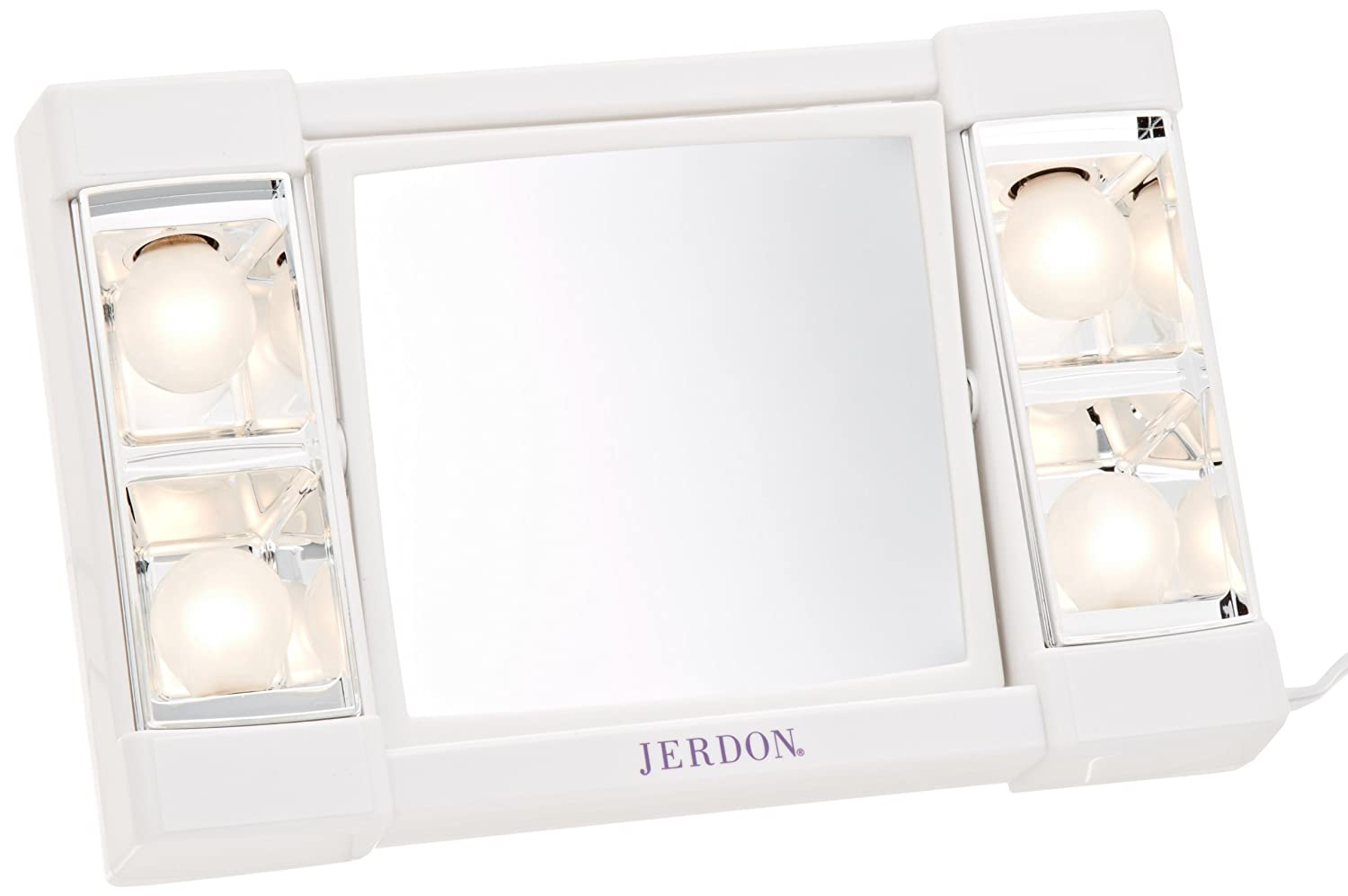 Jerdon J1010 6-Inch Portable Tabletop Two-Sided Swivel Lighted Makeup Mirror with 3x Magnification, White Finish A-028-61-S-V-10-456