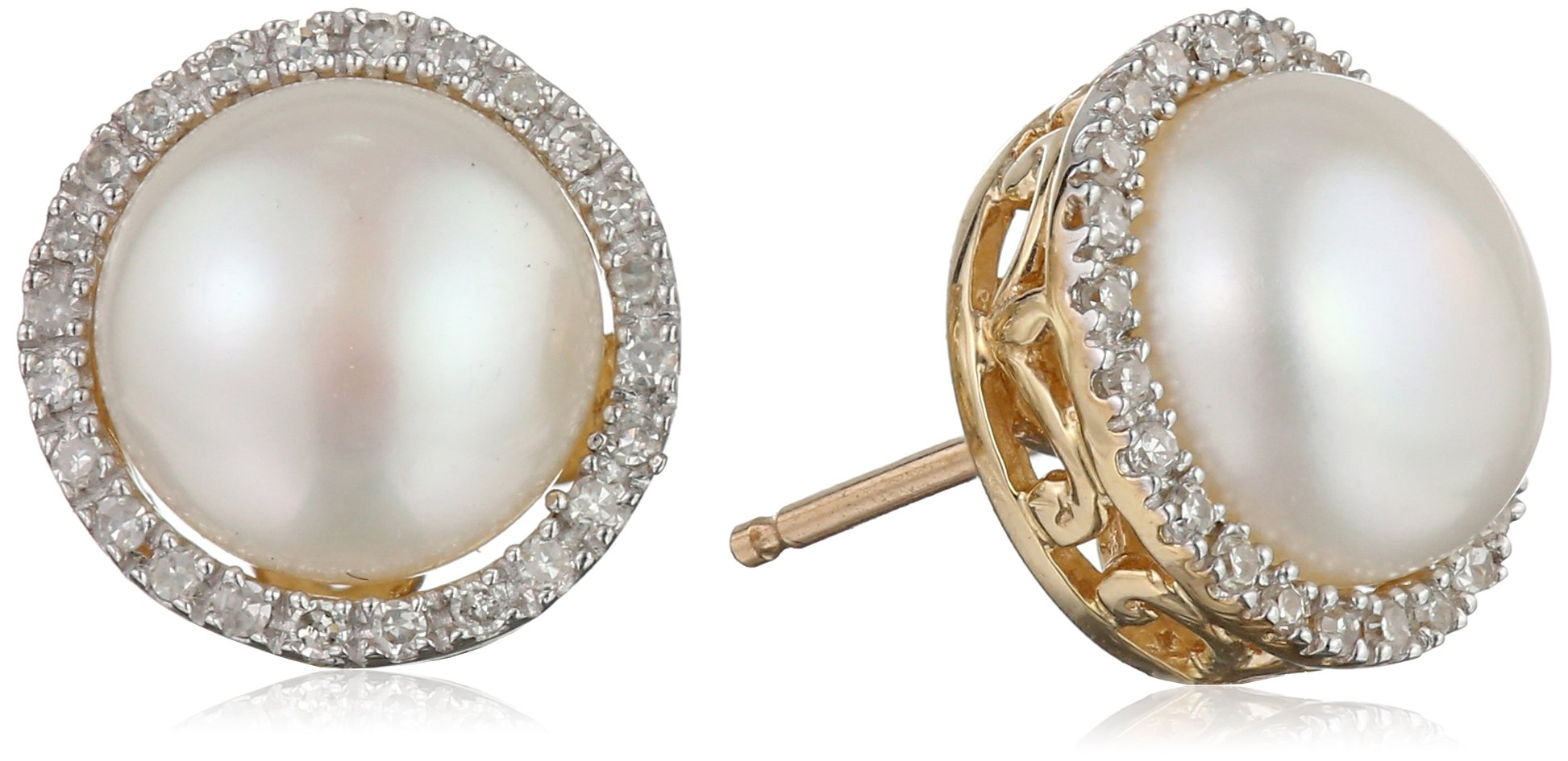 10k Yellow Gold Freshwater Cultured Pearl and Diamond Stud Earrings (1/10 cttw, I-J Color, I2-I3 Clarity)
