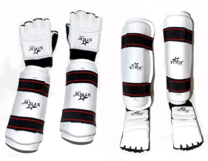 ef2fb71285f084 Taekwondo Gear Forearm Gard Hand Gloves Shin Instep Protector Complete New  Set (XS)