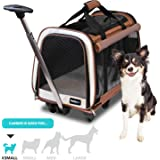 "FrontPet Rolling Pet Travel Carrier - Travel Carrier with 6 Removable Wheels and Shoulder Straps, Strong Breathable Mesh Panels and Comfortable Mat (12"" W x 20"" L x 16"" H)"
