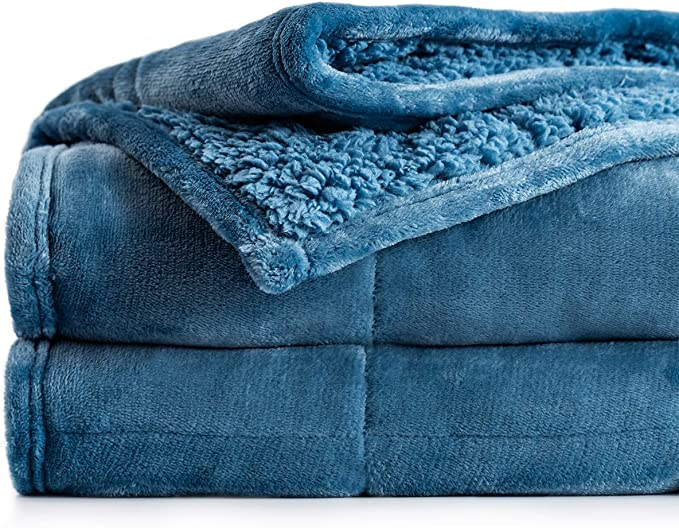 Dual Sided Cozy Fluffy Blanket 41 x 60 inches BUZIO Sherpa Fleece Weighted Blanket for Kids and Adults Grey 7 lbs Thick Fuzzy Bed Blanket with Soft Plush Flannel