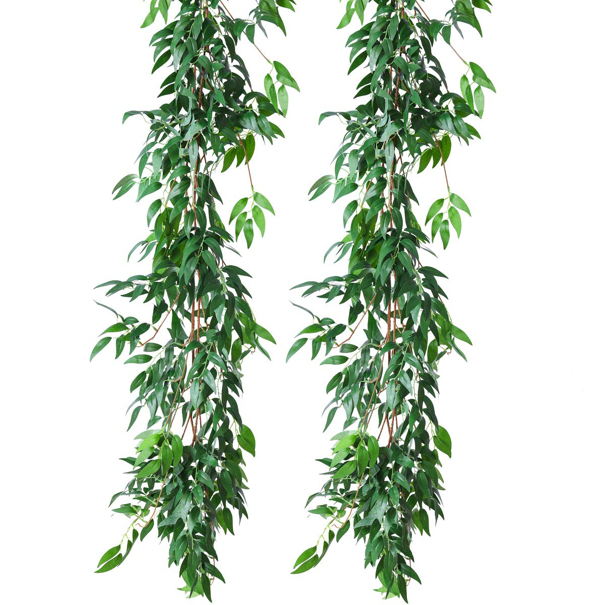 PARTY JOY Artificial Greenery Garland Faux Silk Willow Leaves Vines Wreath Wedding Backdrop Wall Decor Flower Arrangement (Willow Leaves Garland, 2)