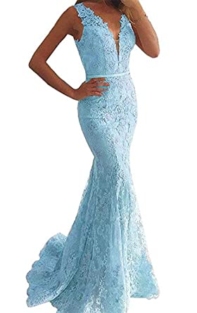 Everbeauty Womens Sexy Deep V-Neck Lace Prom Dresses Long Fishtal Evening Gown